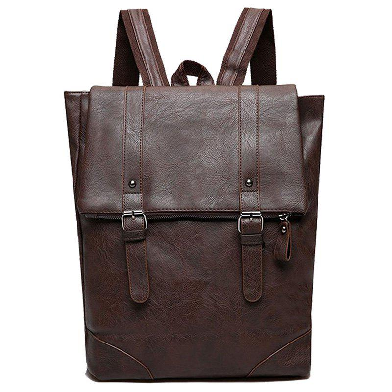 Double Buckle Straps Faux Leather Backpack - DEEP BROWN