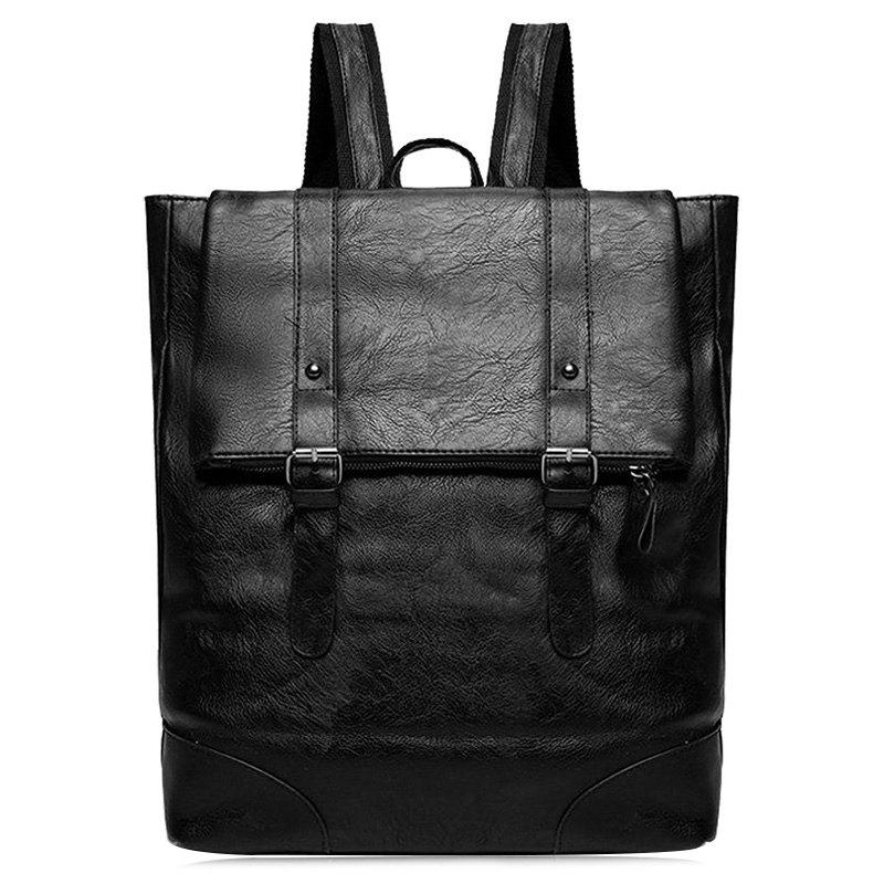 Double Buckle Straps Faux Leather Backpack - BLACK
