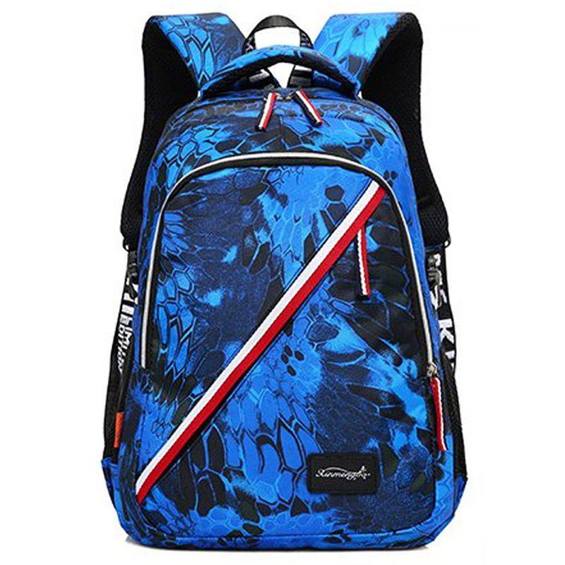 Print Flower Striped Backpack - BLUE