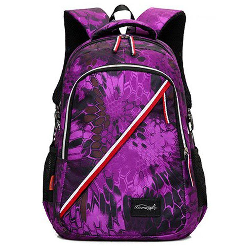 Print Flower Striped Backpack - PURPLE