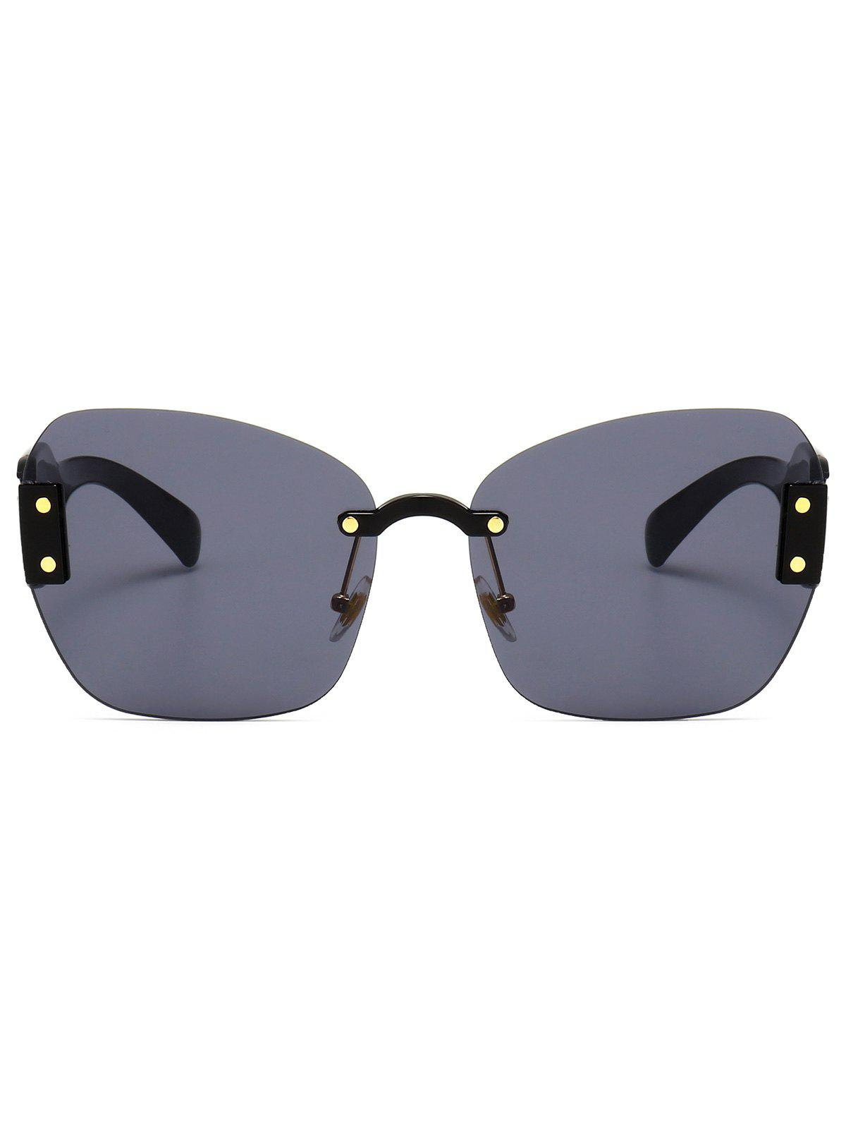 UV Protection Butterfly Shaped Decorative Oversized Sunglasses - BLACK/GREY