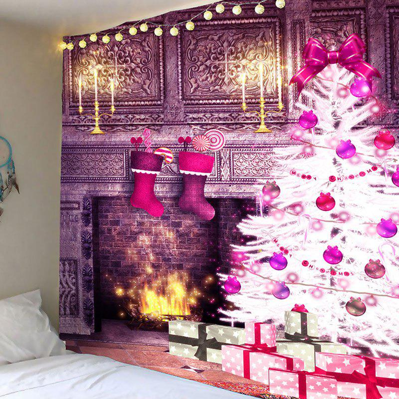 Christmas Fireplace And Tree Patterned Wall Decor Tapestry christmas tree photography background christmas lights fireplace wall decors backdrop xt 4525