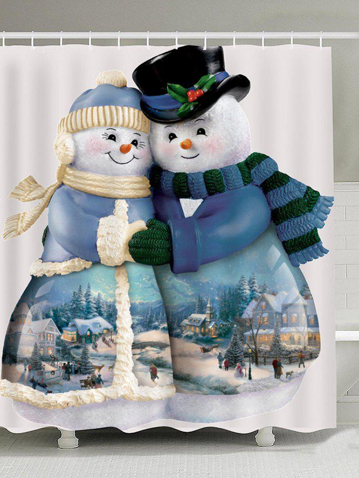 Snowman Couples Pattern Waterproof Shower Curtain waterproof polyester snowman christmas shower curtain