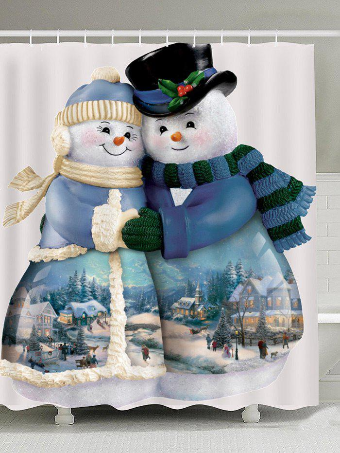 Snowman Couples Pattern Waterproof Shower Curtain - COLORFUL W59 INCH * L71 INCH