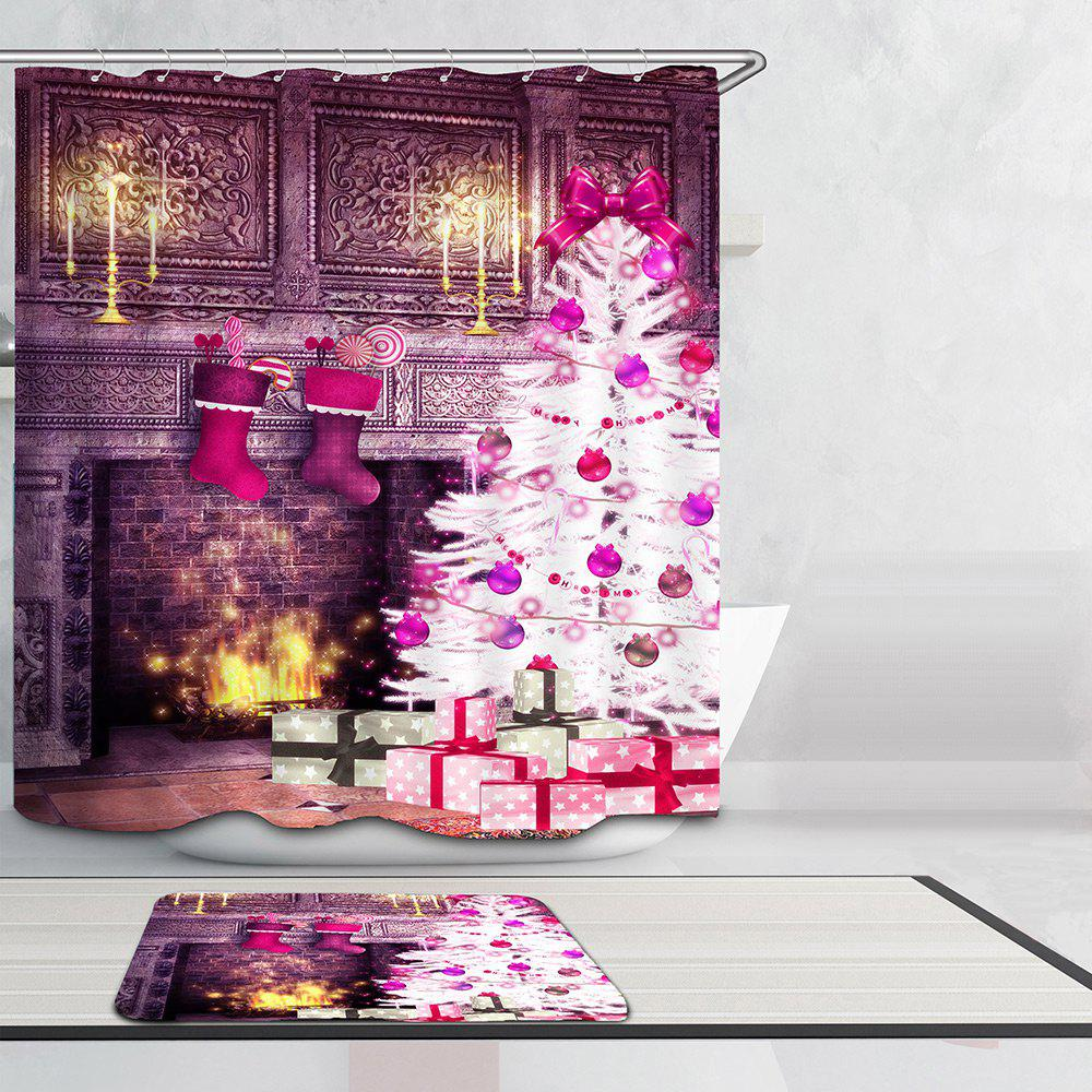 Christmas Fireplace and Tree Pattern Waterproof Shower Curtain - COLORFUL W59 INCH * L71 INCH