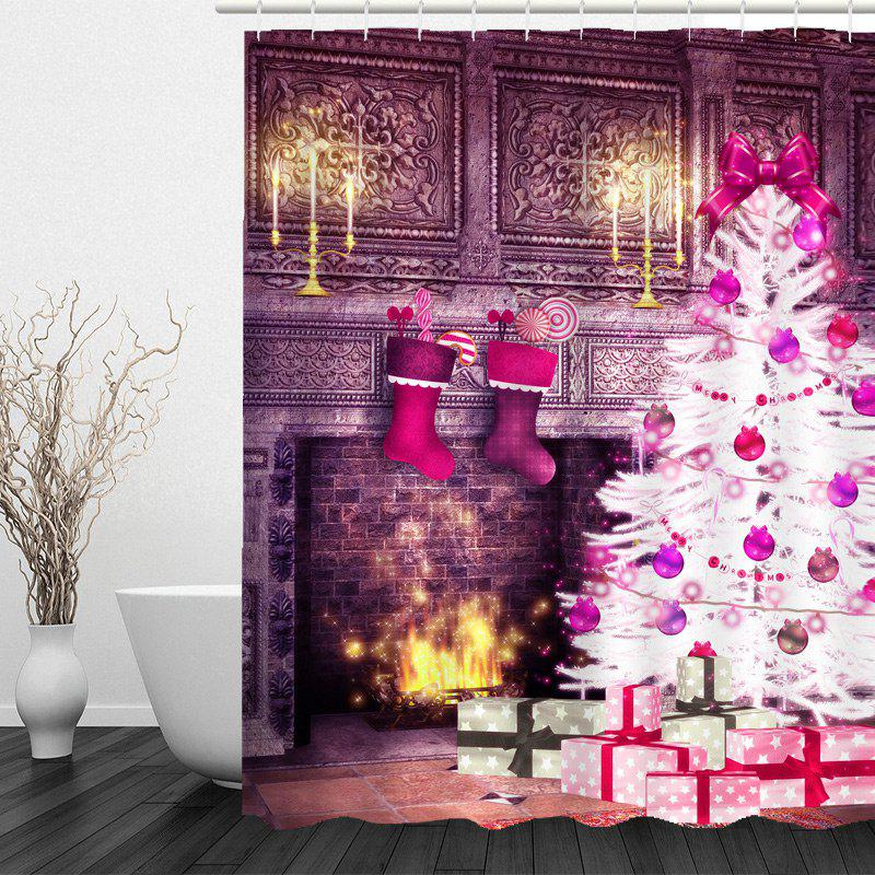 Christmas Fireplace and Tree Pattern Waterproof Shower Curtain - COLORFUL W71 INCH * L71 INCH
