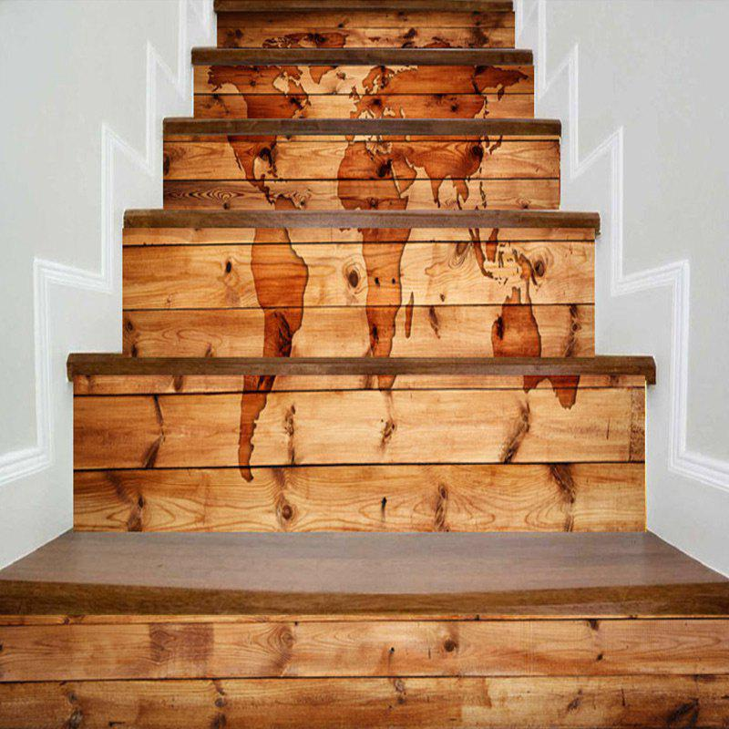 Wood Grain World Map Pattern Stair Stickers - WOOD COLOR 100*18CM*6PCS
