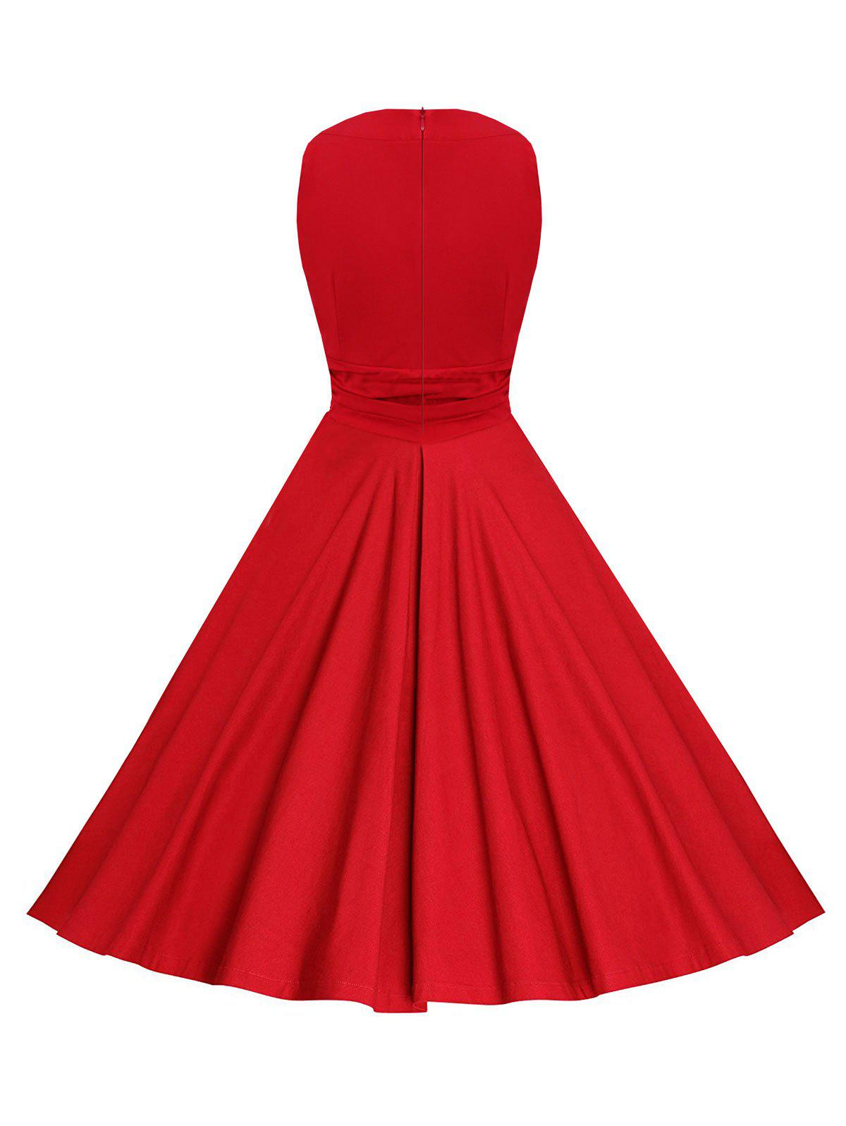 Sleeveless Ruched Keyhole Vintage Dress - RED XL