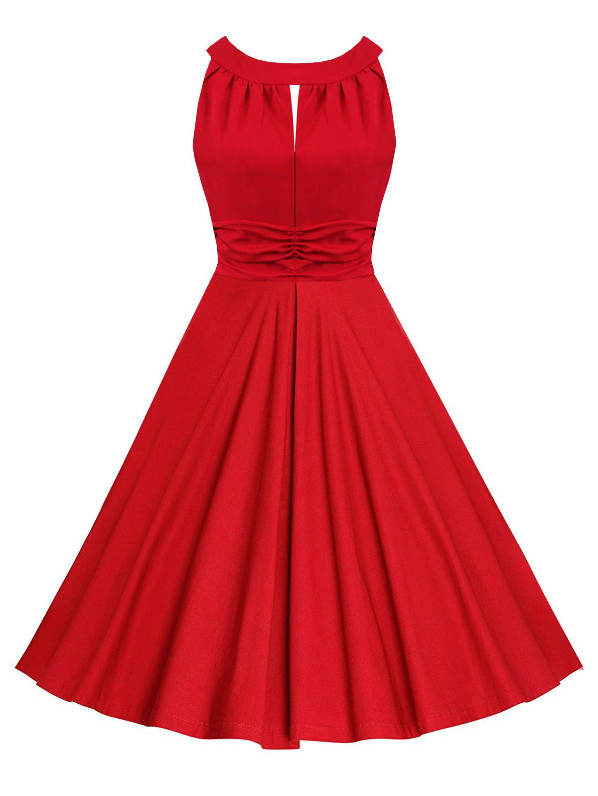 Sleeveless Ruched Keyhole Vintage Dress - RED M
