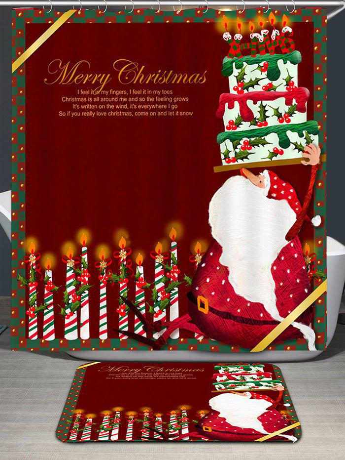 Santa Claus Cake And Candles Printed Shower Curtain - DEEP RED W59 INCH * L71 INCH