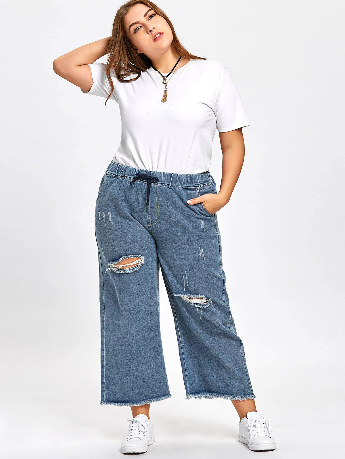 Plus Size Elastic Waist Ripped Jeans - BLUE 3XL