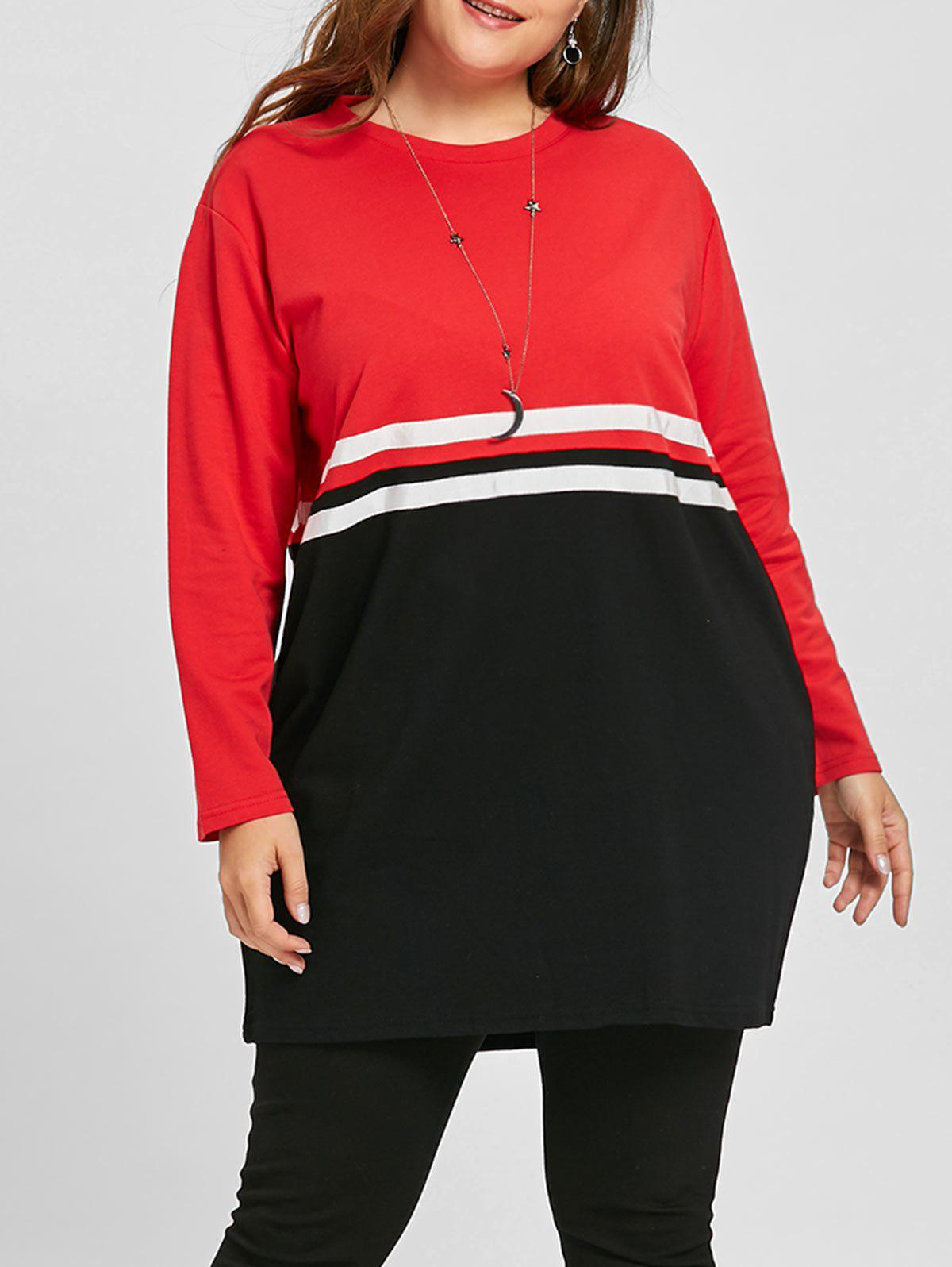 Double Striped Plus Size Color Block Sweatshirt - BLACK/RED ONE SIZE