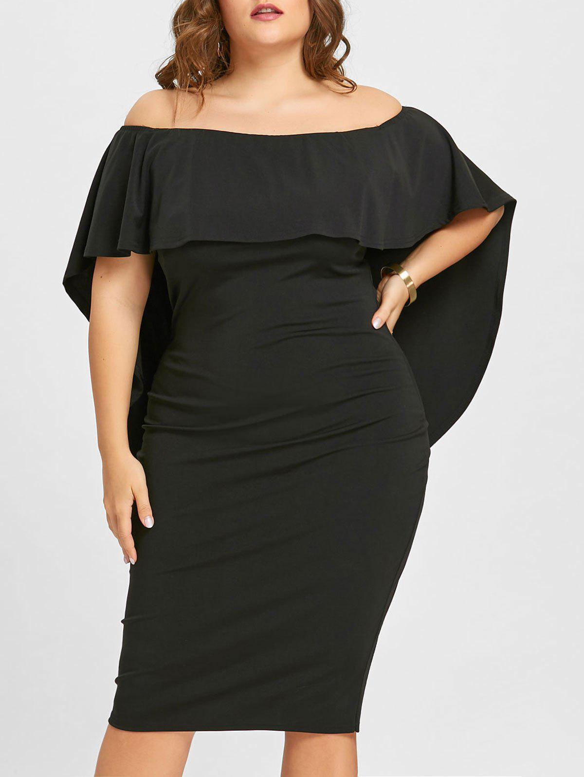 Plus Size Overlay Off The Shoulder Dress graceful off the shoulder overlay tied dress for women