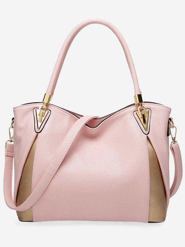 Color Blocking PU Leather Shoulder Bag - PINK