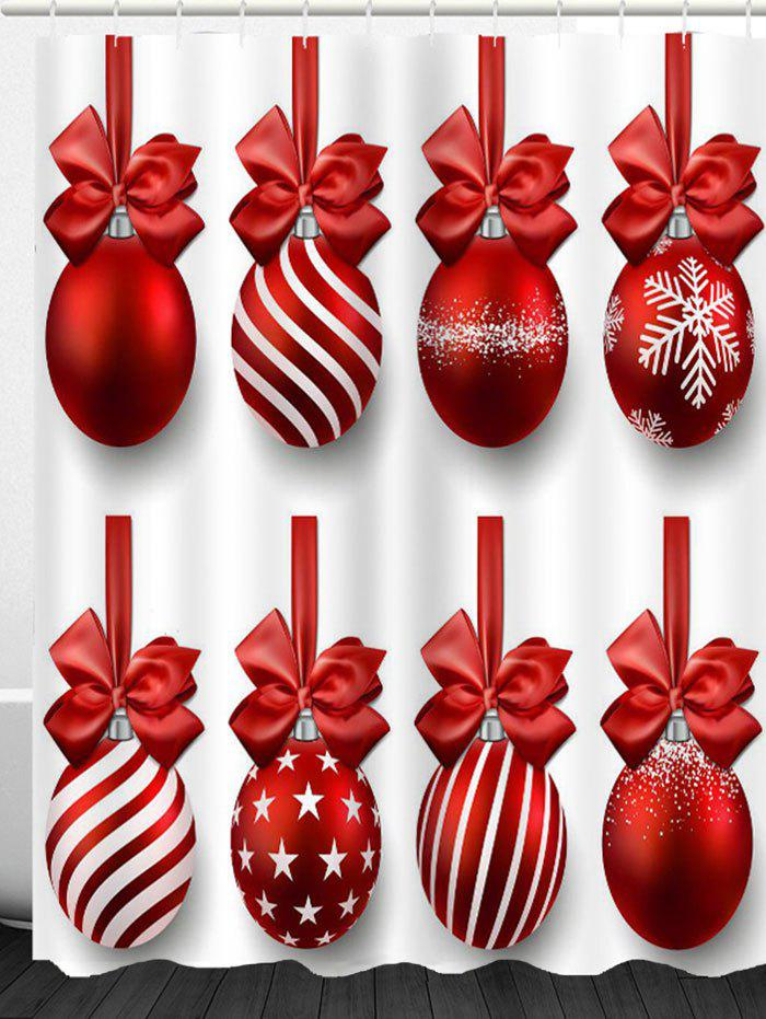 Christmas Hanging Balls Print Shower Curtain - RED/WHITE W71 INCH * L79 INCH