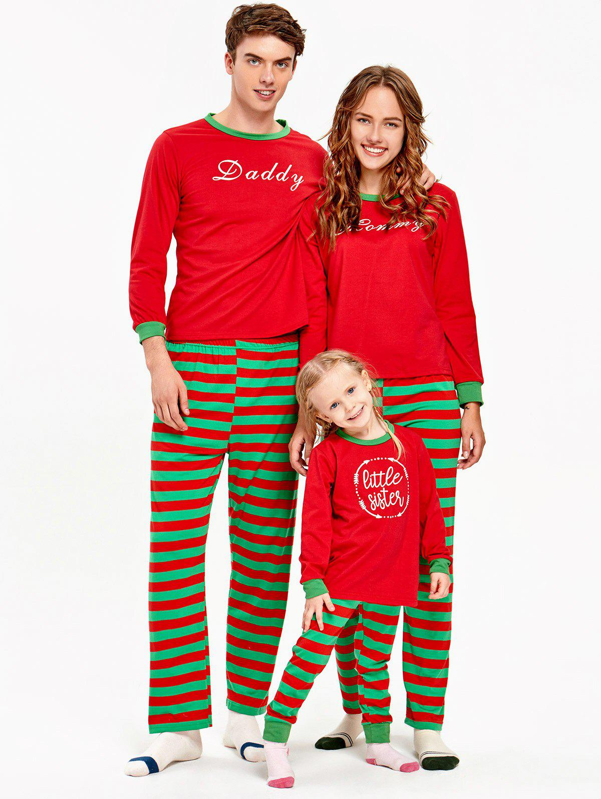 Striped Printed Matching Family Christmas Pajama Set striped wrap pajama set with eye mask
