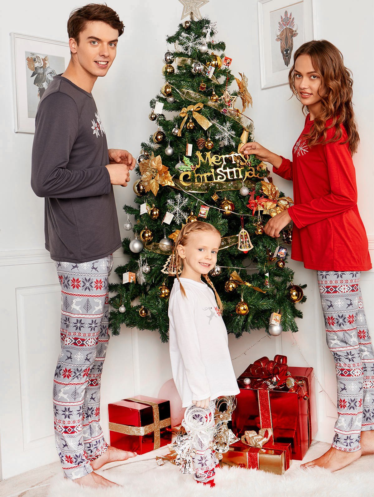 Snowflake Printed Long Sleeve Matching Family Christmas Pajama платье qed london qed london qe001ewivz48
