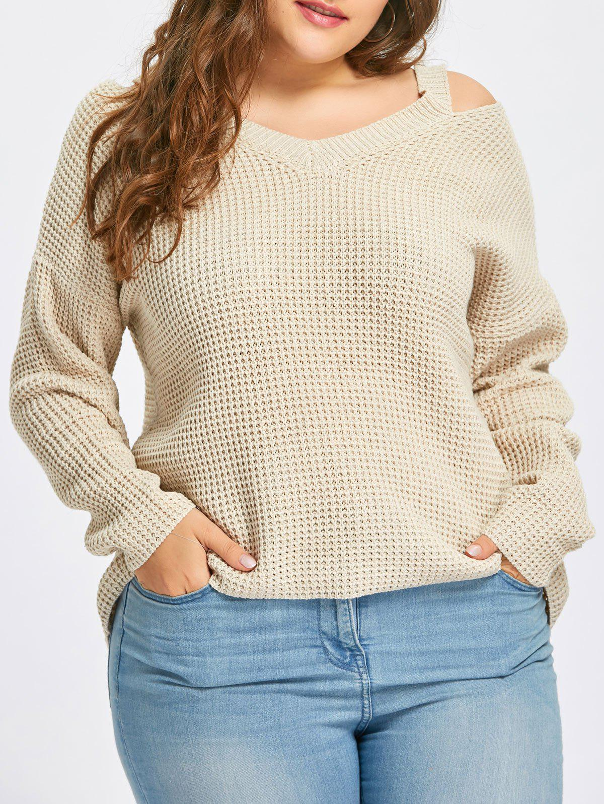 Cold Shoulder High Low Plus Size Sweater - APRICOT 4XL