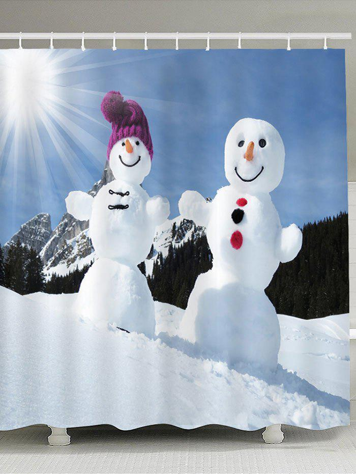 Sunshine Snowmen Couple Patterned Shower Curtain - BLUE / WHITE W59 INCH * L71 INCH