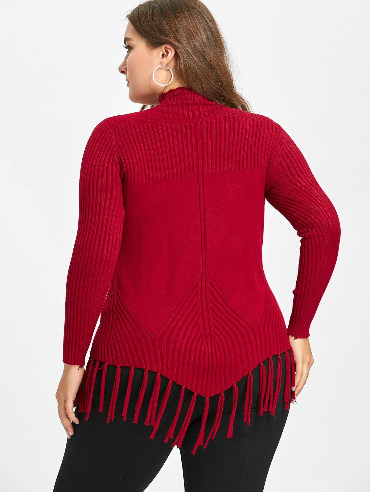 High Neck Fringed Ribbed Plus Size Sweater - RED 4XL