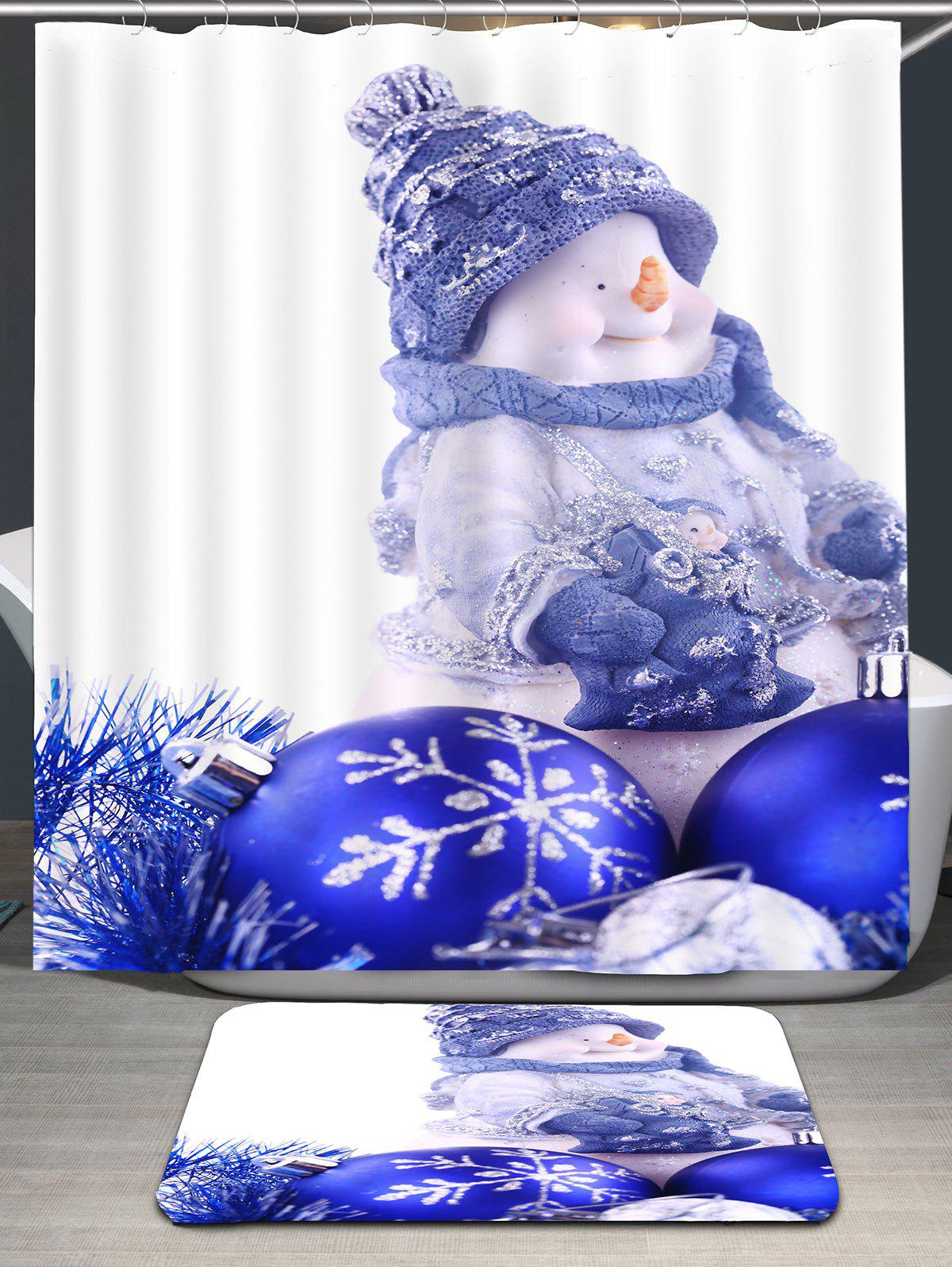 Christmas Snowman Balls Print Waterproof Shower Curtain - BLUE W59 INCH * L71 INCH