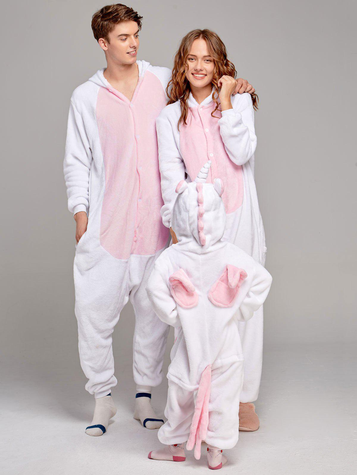 Fleece Unicorn Animal Family Onesie Pajamas - PINK DAD S