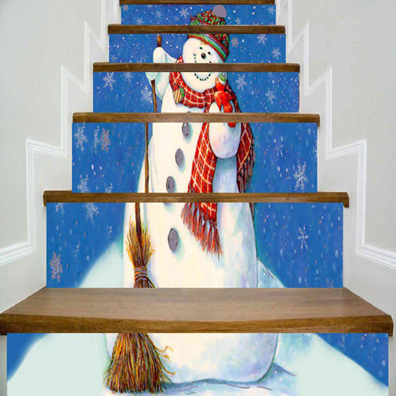 Christmas Snowman Printed DIY Decorative Stair Stickers diy lovely christmas deer printed decorative stair stickers