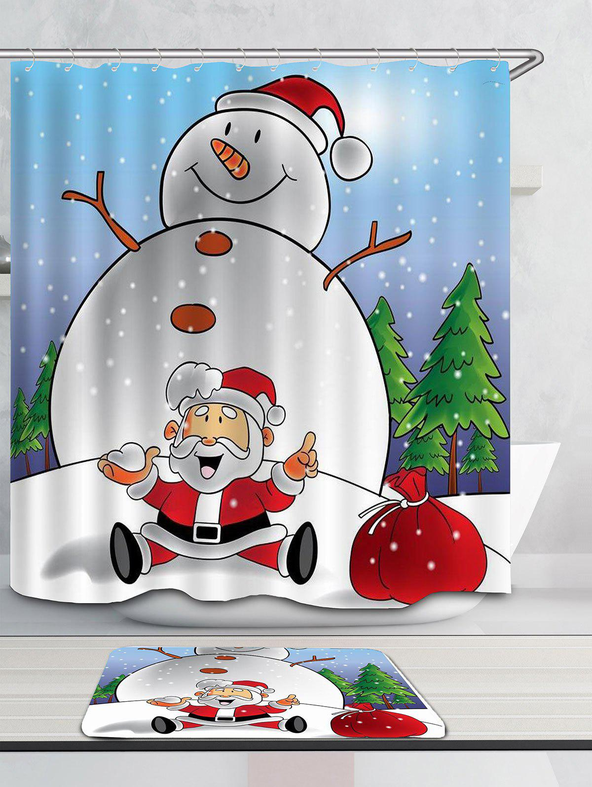 Snowman And Santa Claus Printed Shower Curtain - COLORFUL W71 INCH * L79 INCH