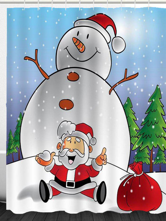Snowman And Santa Claus Printed Shower Curtain - COLORFUL W59 INCH * L71 INCH