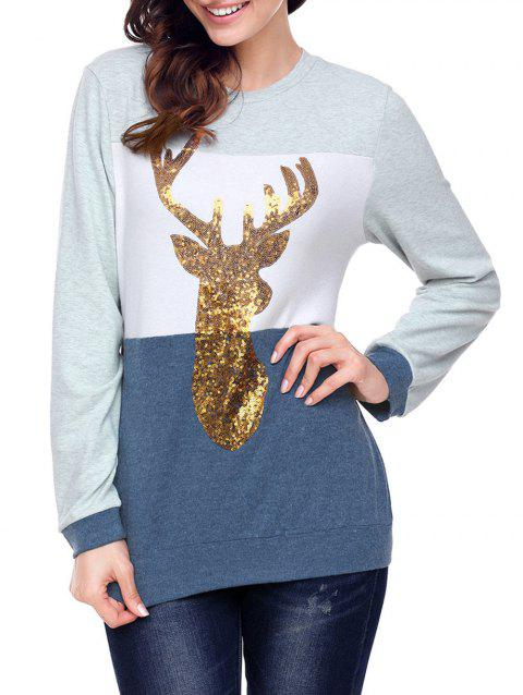Christmas Sequined Deer Color Block Top - BLUE XL
