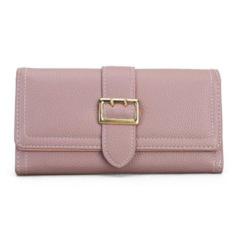 Stitching PU Leather Buckle Strap Wallet - PINK