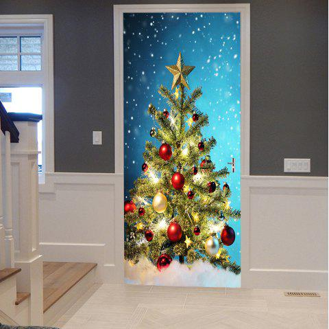 Christmas Tree Balls Pattern Door Stickers - COLORMIX 38.5*200CM*2PCS