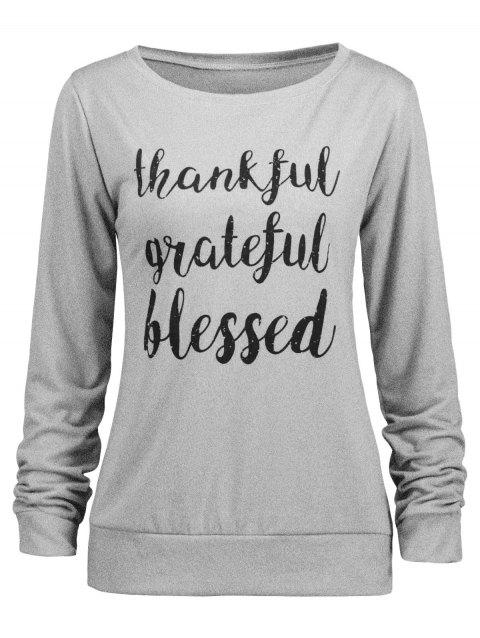 Thanksgiving Grateful Thankful Sweatshirt - GRAY 2XL