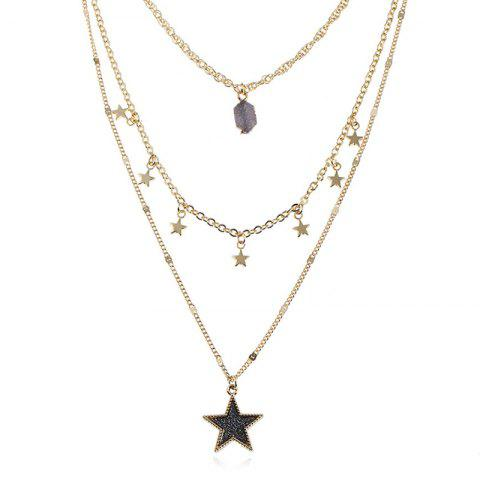Faux Gem Layered Star Pendant Necklace - COFFEE