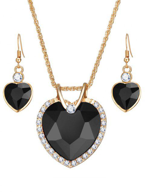 Faux Crystal Gem Rhinestone Heart Jewelry Set - BLACK