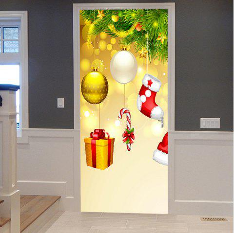 Christmas Tree Ornaments Pattern Door Stickers - COLORMIX 38.5*200CM*2PCS