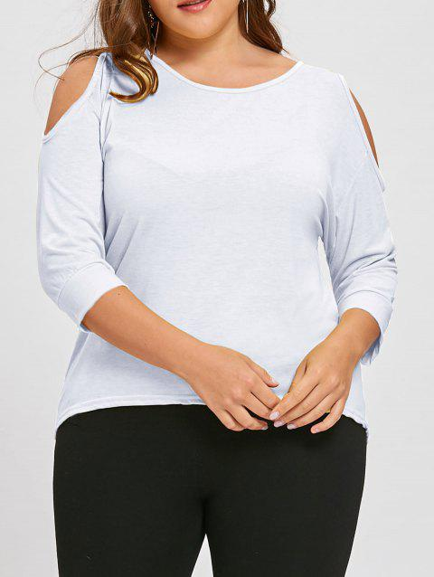 Plus Size Cutout Asymmetric Cold Shoulder Tunic Top - WHITE 3XL