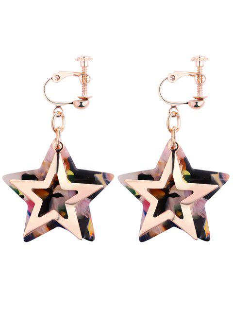 Alloy Resin Star Drop Earrings - COLORMIX
