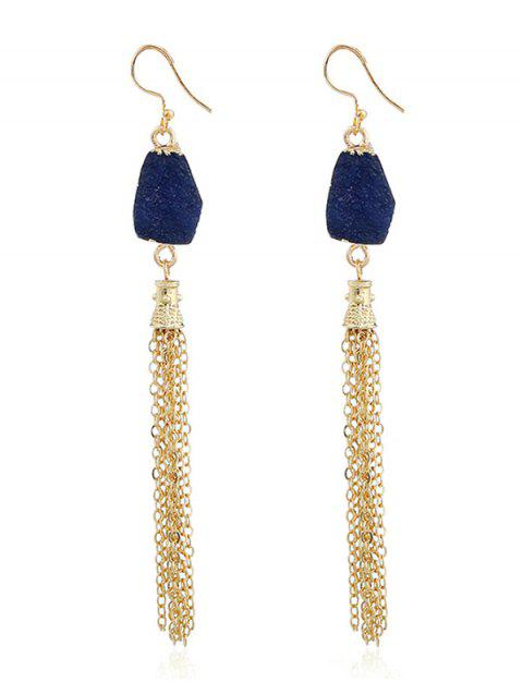 Natural Stone Fringed Chain Hook Earrings - INK BLUE