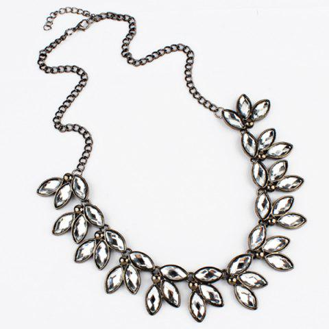 Faux Jewelry Leaves Necklace - WHITE