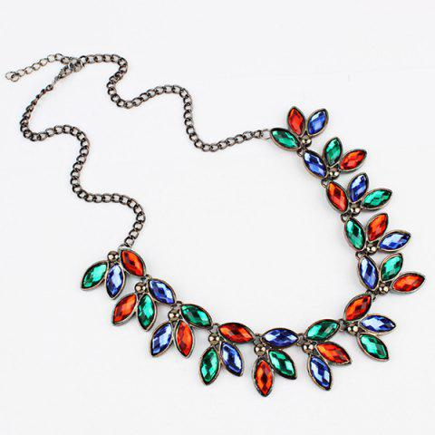 Faux Jewelry Leaves Necklace - multicolorCOLOR