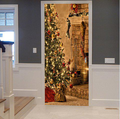 Christmas Tree Sock Pattern Door Stickers - COLORMIX 38.5*200CM*2PCS