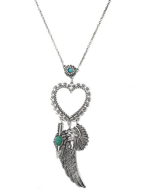 Faux Turquoise Indian Wing Heart Sweater Chain - SILVER