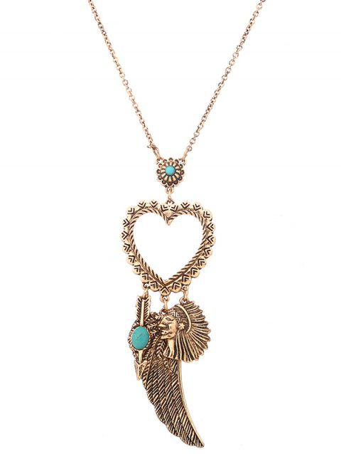 Faux Turquoise Indian Wing Heart Sweater Chain - GOLDEN