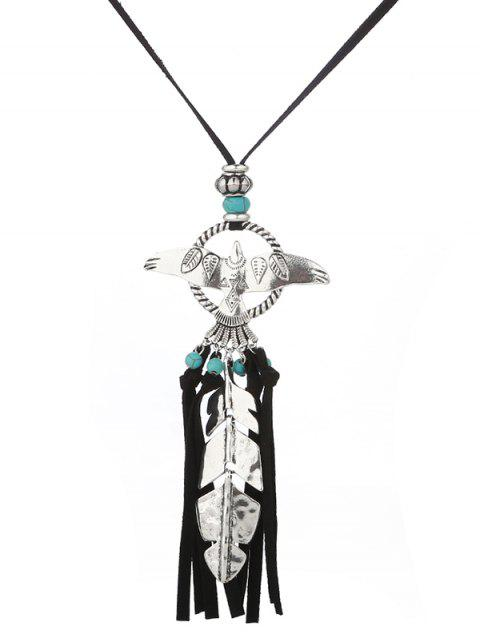 Faux Turquoise Fly Eagle Leaf Tassel Sweater Chain - SILVER