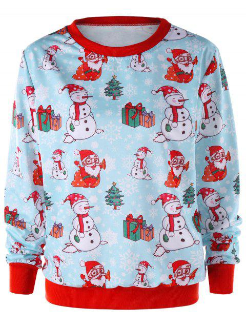 Snowman Christmas Crew Neck Sweatshirt - LIGHT BLUE M