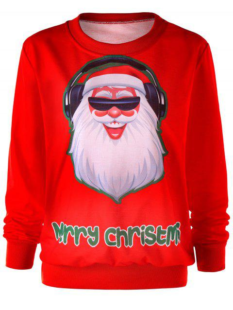 Santa Claus Graphic Merry Christmas Sweatshirt - RED XL