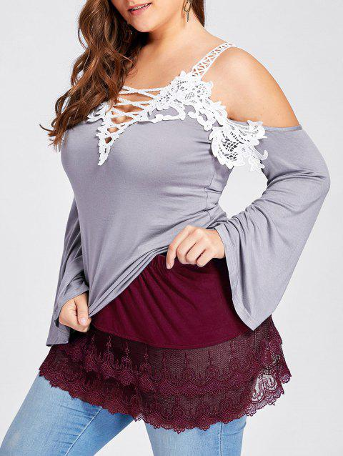 Plus Size Tiered Sheer Lace Extender Skirt - WINE RED 4XL