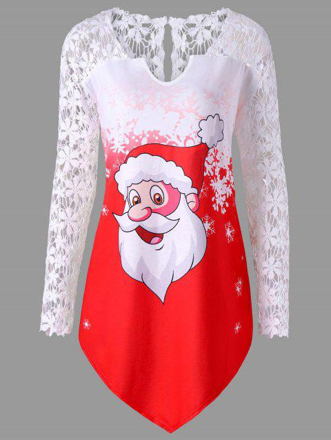 Christmas Plus Size Lace Panel Santa Claus T-shirt - RED XL