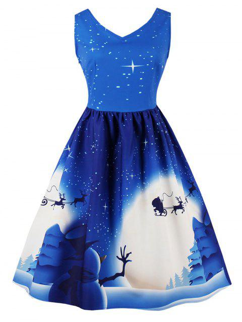 Vintage Christmas Moon Print Pin Up Dress - BLUE 2XL